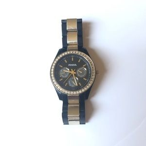 Black & Gold Fossil Watch 🤩